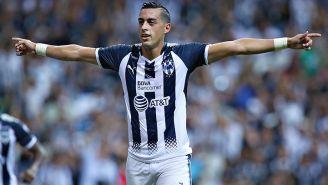 Funes Mori festeja el gol con Rayados