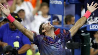 Del Potro celebra su victoria frente al austriaco Dominic Thiem