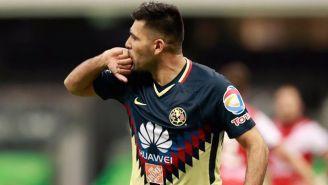 Romero celebra uno de sus goles frente a Veracruz