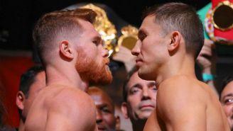 Canelo y Golovkin, durante el pesaje previo a su pelea