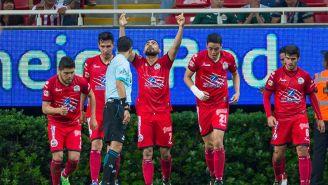 La celebración del gol de Amaury Escoto
