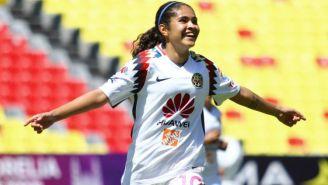 Daniela Espinosa festeja gol con las Águilas del América