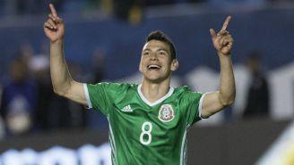 Hirving Lozano celebrando un gol con México