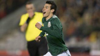 Hirving Lozano festeja su gol contra Bélgica