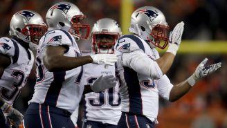 Patriots festeja touchdown contra Broncos