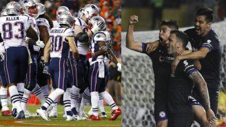 Patriots celebra una anotación / Mendéz, Mora y Aldrete en festejo de gol