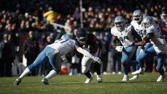 Glover Quin sobre el corredor de los Bears Tarik Cohen en la primera mitad de la NFL