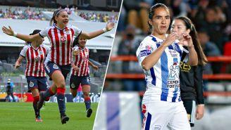 Norma Palafox y Mónica Ocampo celebran un gol
