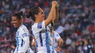 La celebración de gol de Mónica Ocampo