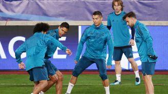 Los elementos del Real Madrid en un entrenamiento