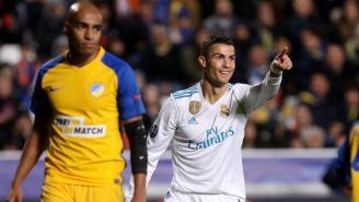 Cristiano Ronaldo festeja tras anotar con el Real Madrid