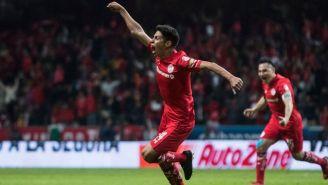 La celebración del segundo gol de Toluca