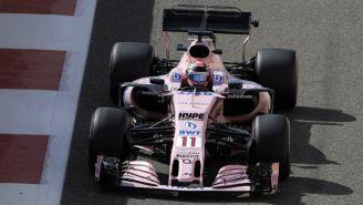 Sergio Pérez, en su monoplaza durante el GP de Abu Dhabi