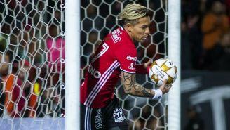 Dayro Moreno festeja un gol con Xolos en 2016