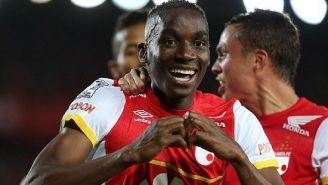 Mosquera celebra un gol con Independiente de Santa Fe