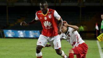 Dairon Mosquera en un partido con Independiente de Santa Fe