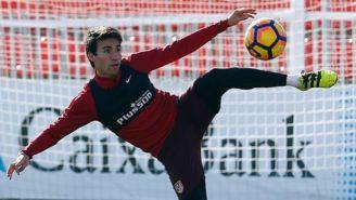Gaitán, en un entrenamiento con el Atlético de Madrid