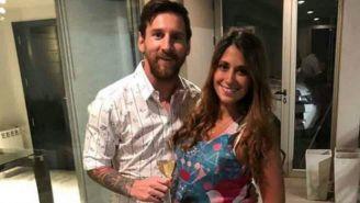 Lionel Messi y Antonella Roccuzzo, en la fiesta de Fin Año