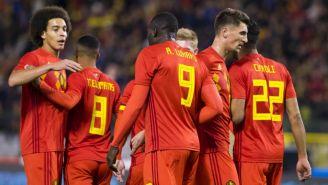Jugadores de Bélgica en el juego amistoso contra el Tri en 2017