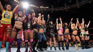 Luchadoras de la WWE, durante el anuncio del Royal Rumble