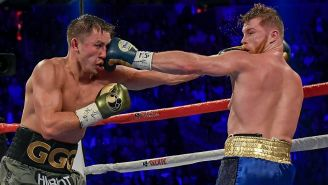 Canelo y Golovkin, durante la pelea en Las Vegas