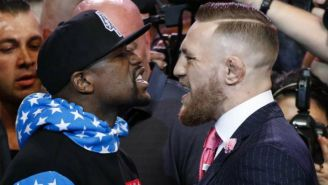 Mayweather y McGregor durante la presentación de su pelea