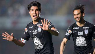 Erick Gutiérrez celebra el gol del triunfo frente a Veracruz