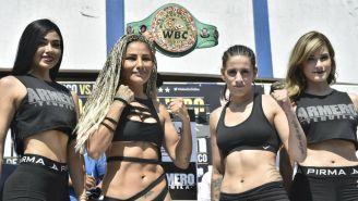 Mariana Juárez y Gabriel a Bouvier en la ceremonia de pesaje