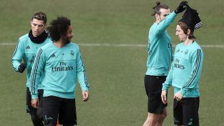 Marcelo y Modric, durante un entrenamiento del Madrid
