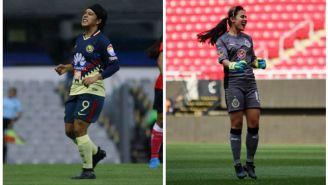 Lucero Cuevas y Blanca Félix,en juegos de la Liga MX