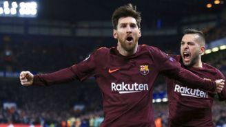 Lionel Messi celebra gol contra el Chelsea