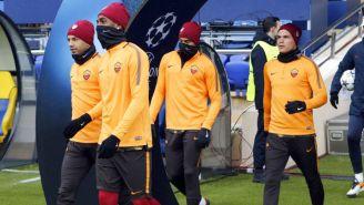 Jugadores de la Roma durante un entrenamiento previo