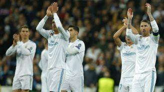 Jugadores del Real Madrid celebran el triunfo sobre el PSG