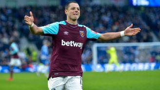 Chicharito celebra un gol con el West Ham en Premier