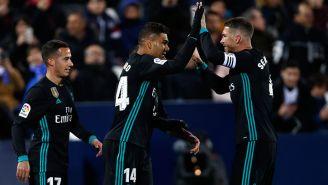 Casemiro y Ramos celebran un tanto del Real Madrid