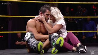 Johnny Gargano y Candice LeRae en medio del ring de NXT