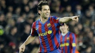 Rafa Márquez festeja un gol en su paso por Barcelona