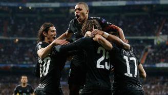 Jugadores del PSG celebra gol contra Real Madrid