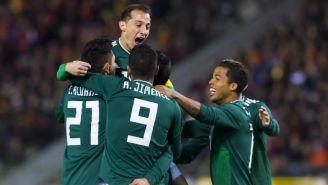 México celebra anotación frente a Bélgica