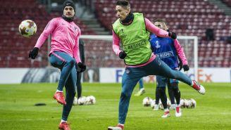 Vitolo y Niño Torres, durante un entrenamiento con Atlético de Madrid
