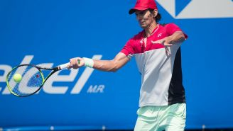 David Ferrer durante su partido en el Abierto Mexicano de Tenis