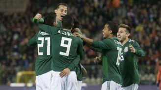 Seleccionados nacionales festeja un gol en el juego amistoso contra Bélgica