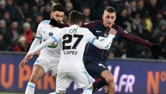 Marco Verratti disputa un balón en un juego de la Copa de Francia