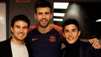 Pérez, Piqué y Márquez posan para la foto en el Camp Nou