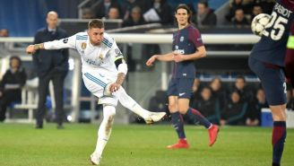 Sergio Ramos saca disparo frente al PSG en Champions League