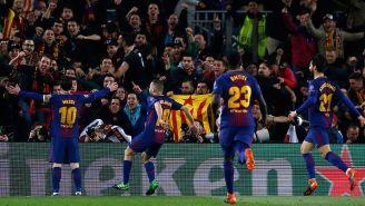 Barcelona celebra el gol de Messi contra Chelsea