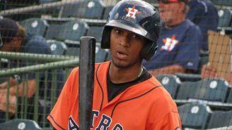 Danry Vásquez, durante un juego con la filial de Houston Astros
