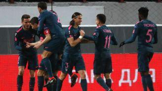 Atlético celebra una anotación contra el Lokomotiv