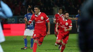 Jiménez celebra su anotación contra el Feirense