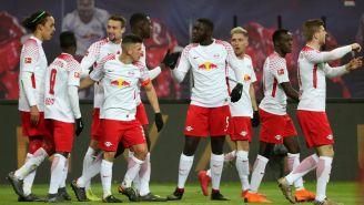 Leipzig en festejo tras anotar frente al Bayern Munich